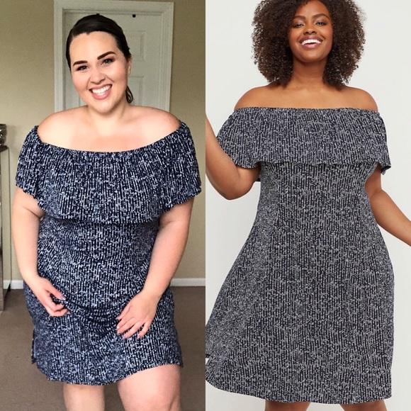 8c9c43a49f4d Lane Bryant Dresses | Off The Shoulder Flounce Midi Dress Size 1416 ...